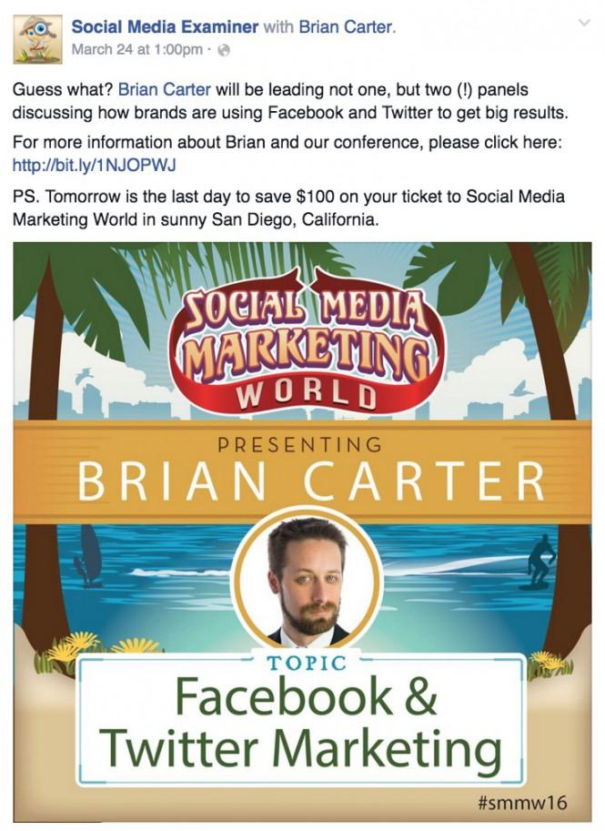 facebook etkinlik pazarlama - durum güncellemesi