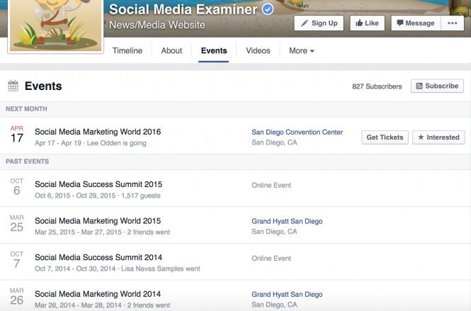 facebook etkinlik pazarlama etkinlik sekmesi