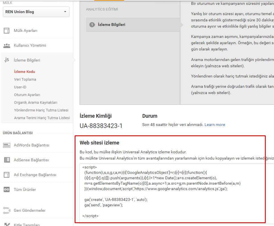 google-analytics-kod-ekleme